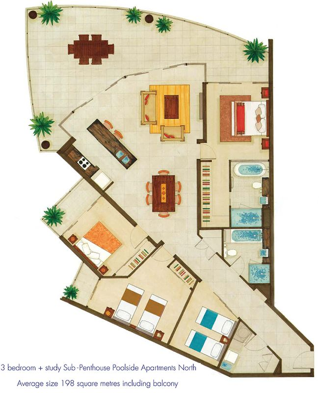 5 Ideas For A One Bedroom Apartment With Study Includes Floor Plans: Luxury Apartment Floor Plans
